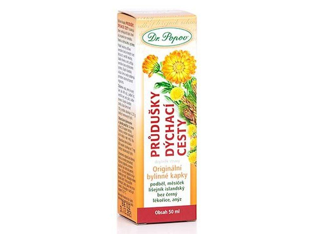 Dr. Popov - Průdušky – dýchací cesty, bylinné kapky, 50 ml - DOPRODEJ, SLEVA 30%