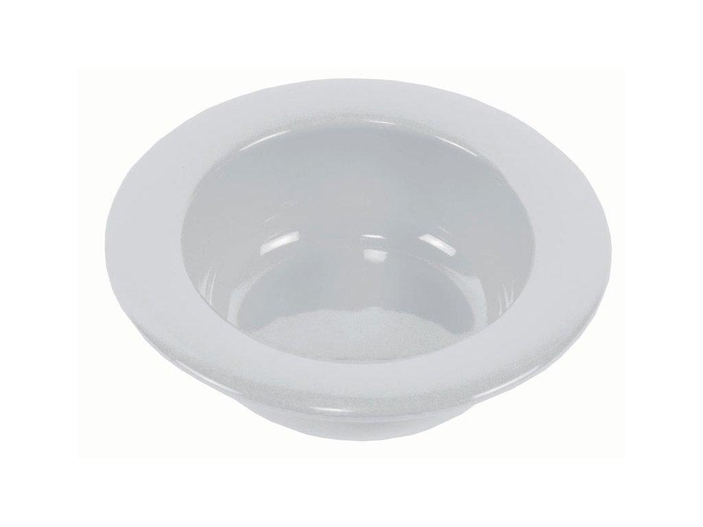 Keramická miska s vyvýšeným okrajem, bílá
