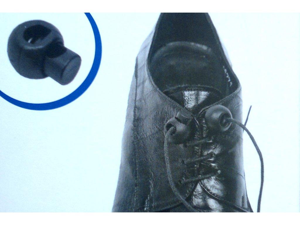 Plastový zajišťovač pro fixaci tkaniček ve správné pol., bílý