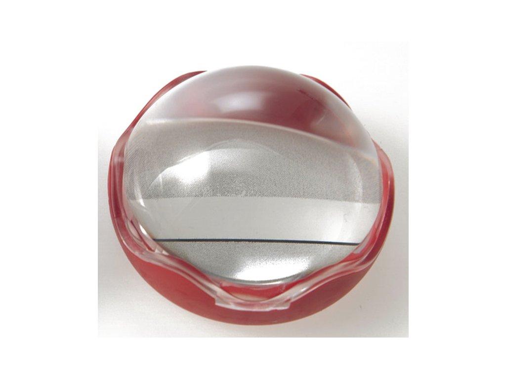 Lupa pro dyslektiky - příložní polokoule s řádkem 50 mm, červená, zvětšení 4x