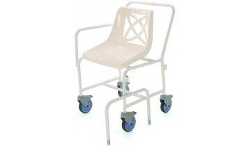 Židle do sprchy pojízdná s pevnou výškou a odnímatelnými područkami