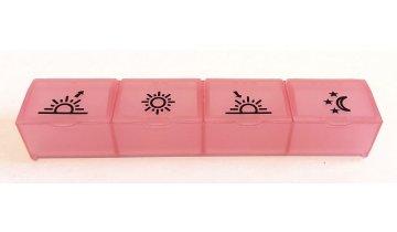 Dávkovač léků denní, 4 části, různé barvy