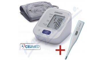 Omron M2 - digitální tlakoměr s upevněním na paži a kontrolou utažení + lékařský teploměr