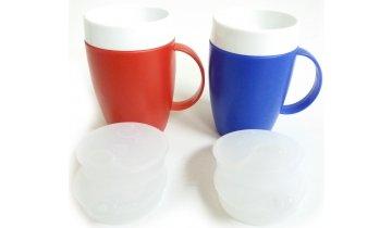 Termohrnek se snadným úchopem s dvěma víčky pro pití nebo jedení, různé barvy