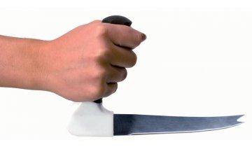 Nůž pro seniory sdružený s vidličkou se zahnutou rukojetí