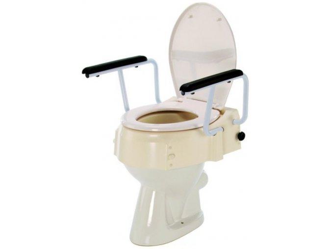 Výškově nastavitelný nástavec na WC se sklopnými madly