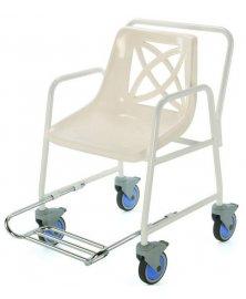 Židle do sprchy pojízdná s výsuvnou podnožkou