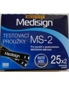 Testovací proužky do glukometru Medisign MS-2, 50 ks