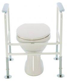 Podpěra na WC s madly a upevněním do podlahy, bílá