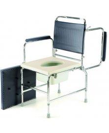Toaletní křeslo s nastavitelnou výškou, plastové sedátko, odklopné područky