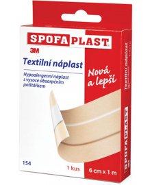 SpofaPlast - nedělená textilní hypoalergenní náplast, 6 cm x 1 m