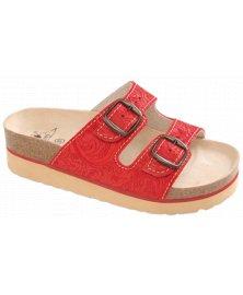 Flowers - zdravotní pantofle na klínku, červená, různé velikosti