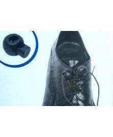 Plastový zajišťovač pro fixaci tkaniček ve správné pol., hnědý