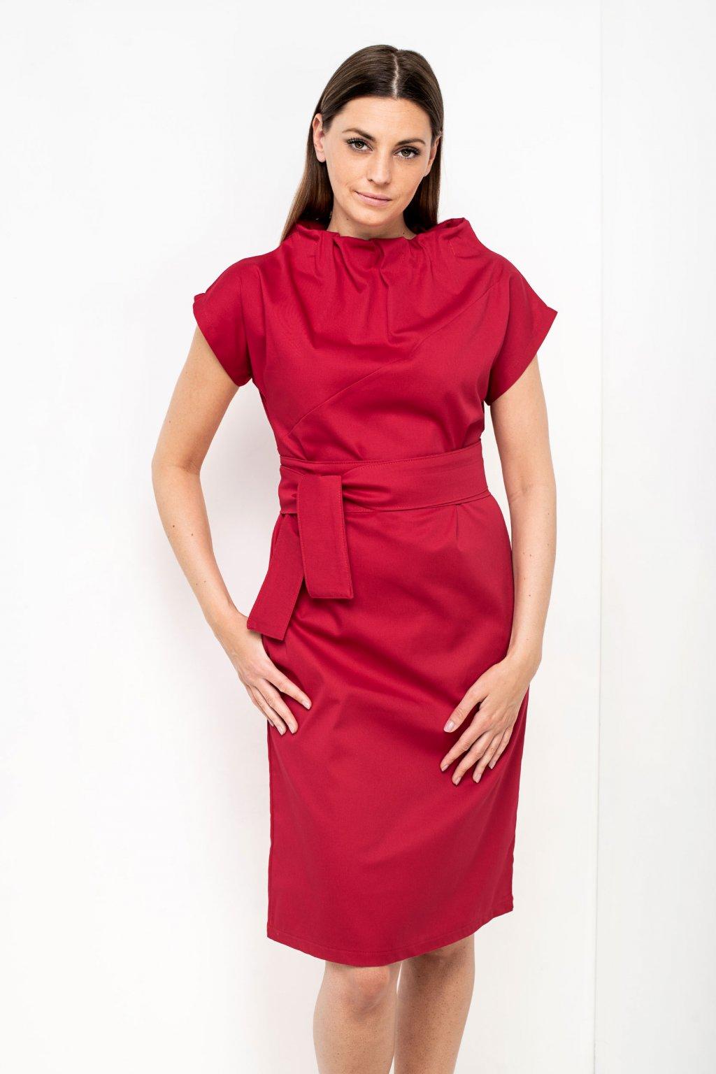 ZIK Šaty s nariaseným rolákovým výstrihom červené (3)
