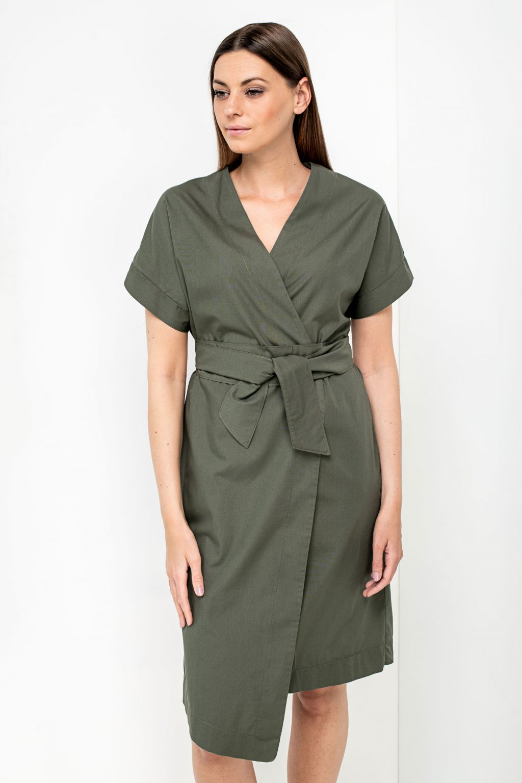 ZIK Kimonové šaty s krátkym rukávom olivovozelené (4)