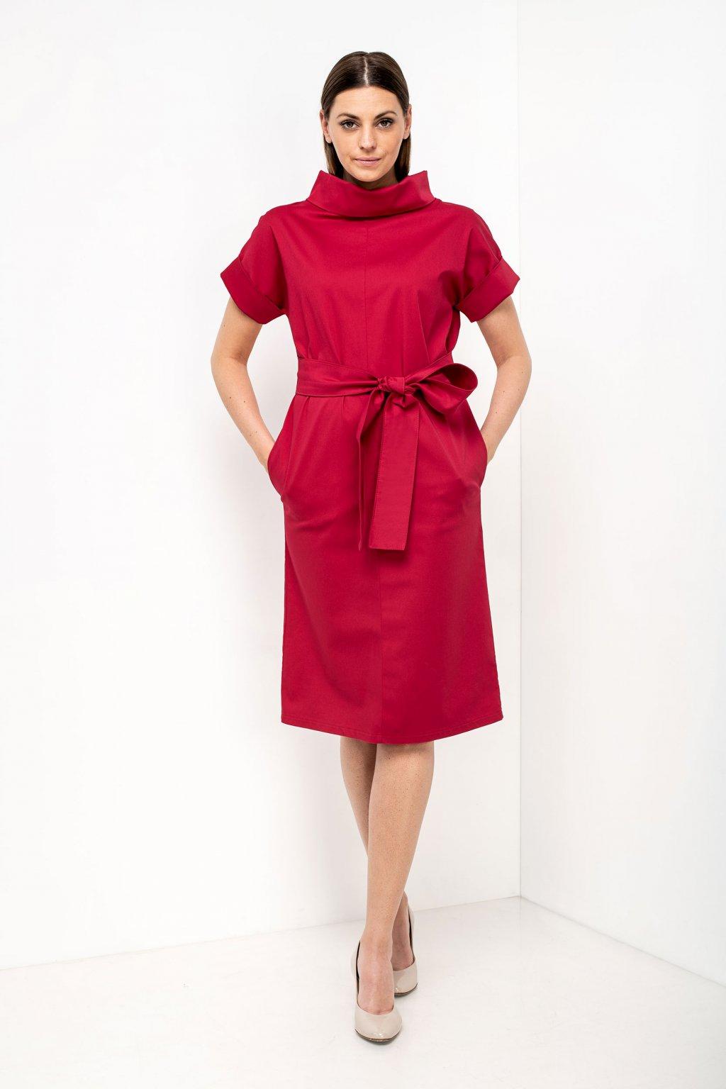 ZIK Šaty s ovinovacími rukávmi a golierom červené(2)