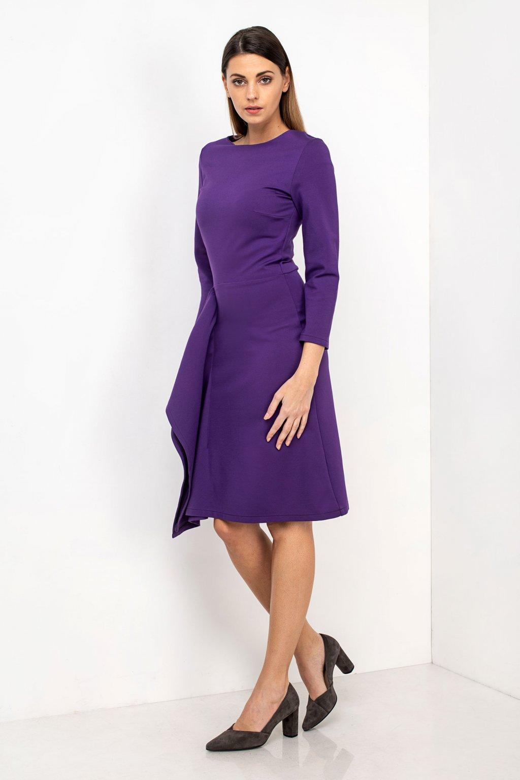 ZIK Šaty so zvislým volánom fialové (1)