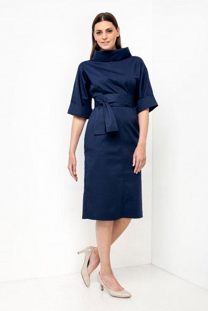 ZIK Šaty s ovinovacími rukávmi a golierom tmavomodré (1)