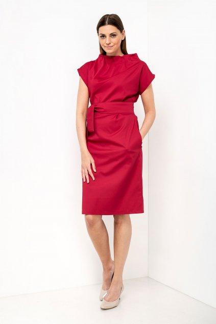 ZIK Šaty s nariaseným rolákovým výstrihom červené (1)