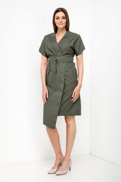 ZIK Kimonové šaty s krátkym rukávom olivovozelené (2)
