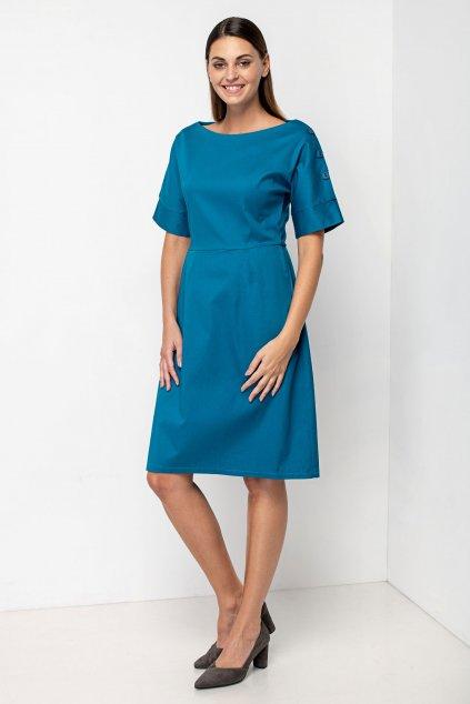 ZIK šaty s gombíkmi na ramene petrolejové (4)