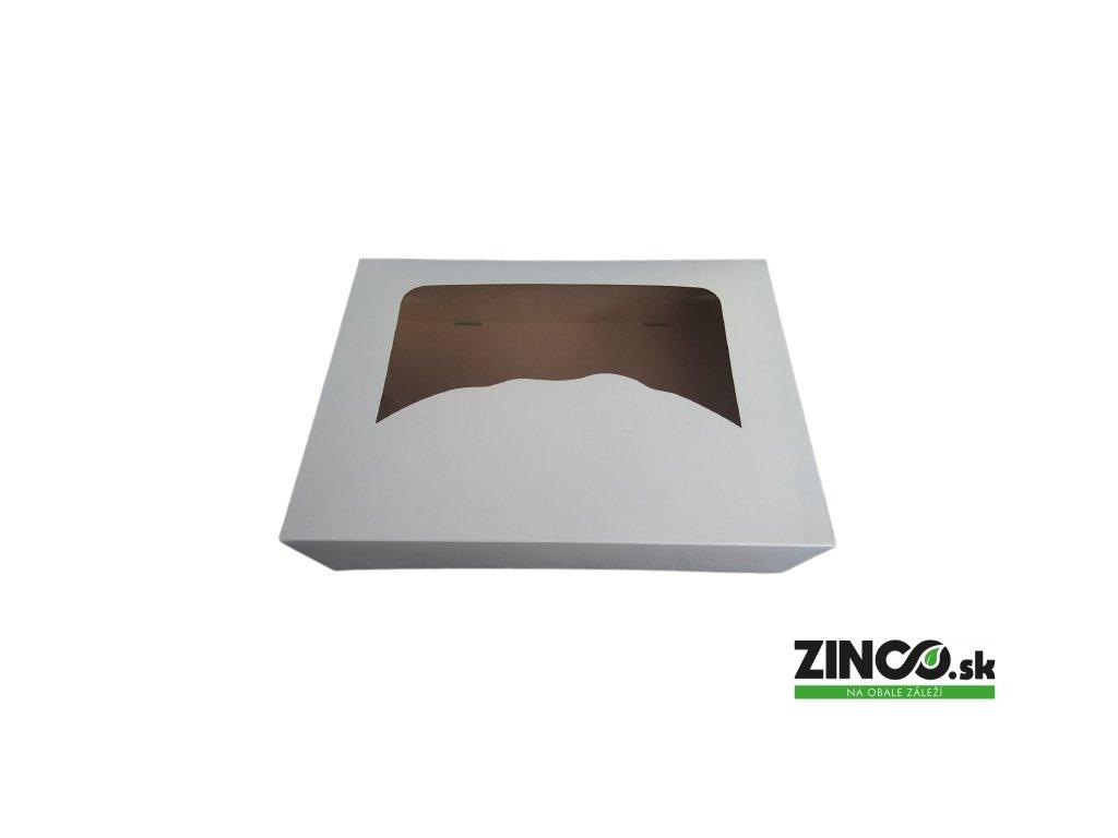 P1175 – Krabice na koláče s okienkom, 31x22x8 cm (50 ks)