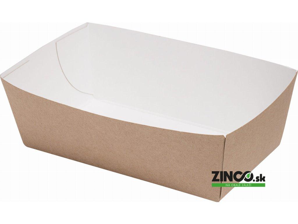 7501485 – Papierová tácka s vyvýšeným okrajom, 14x8x5,5 cm