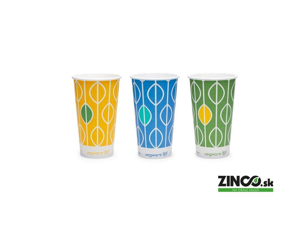 """CV-12 – Papierové poháre s potlačou """"Hawai"""", 350 ml (50 ks)"""