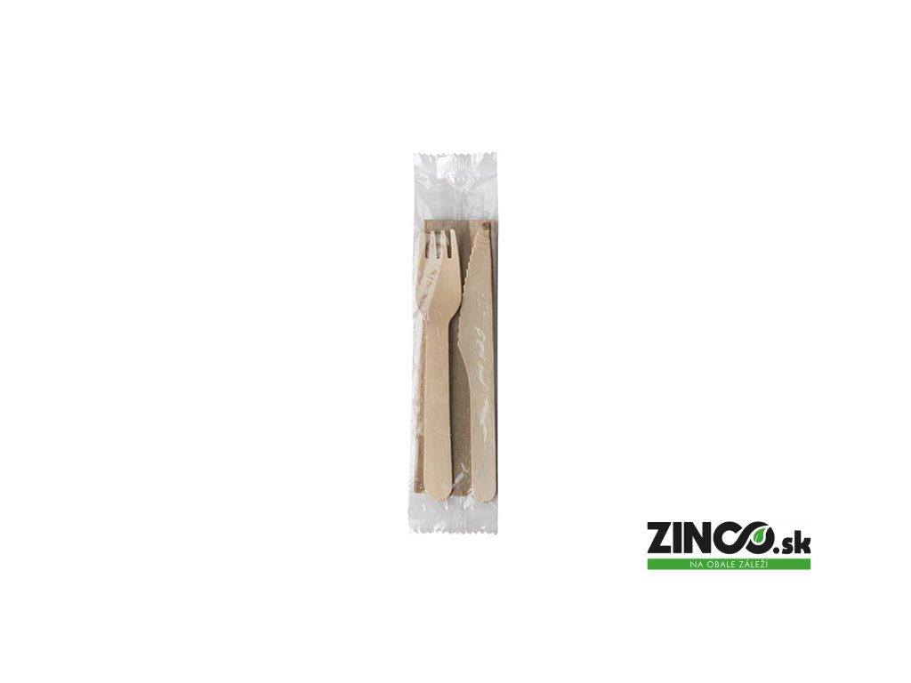 45377 – Drevený príbor balený, vidlička, nôž, servítka