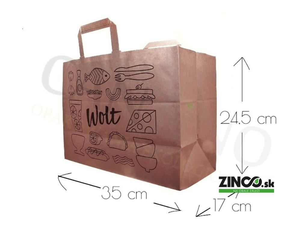T-WOLT – Papierové tašky s potlačou, 35x17x24,5 cm (250 ks)