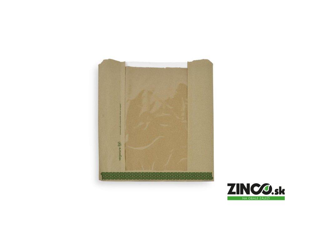 VNWB8.5 – Papierové vrecko s priehľadným okienkom, 21x21 cm (1000 ks)