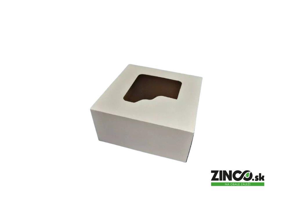 P689 – Krabice na tortu s okienkom, 18x18x9 cm