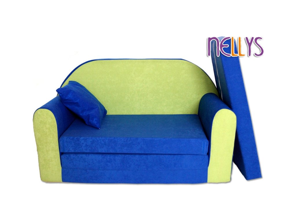 NELLYS Rozkládací dětská pohovka 02R - Autíčka v modré 2020