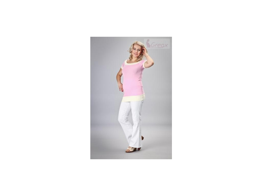 Elegantní těhotenské kalhoty JEANS - bílá 2020
