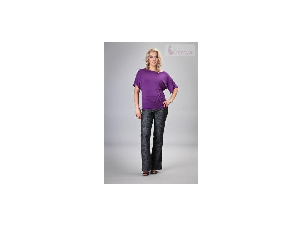 Elegantní těhotenské kalhoty JEANS - černý melír 2021