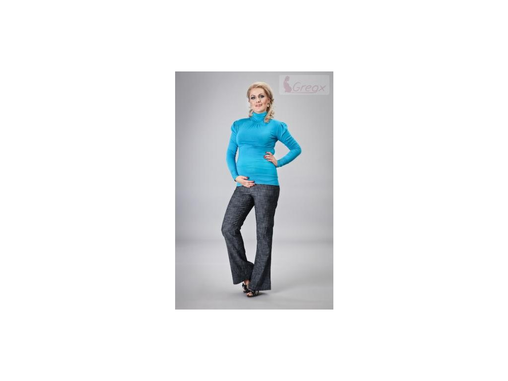 Elegantní těhotenské kalhoty JEANS - granátový melír 2021
