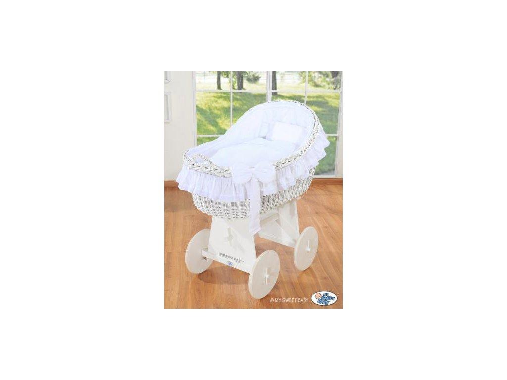 Proutěný koš na miminko bílý MY SWEET BABY kolekce Carina > varianta bílá 2021