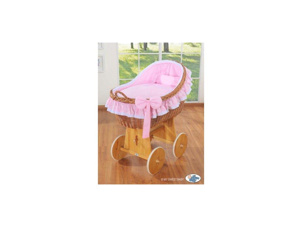 Proutěný koš na miminko MY SWEET BABY kolekce CARINA > varianta růžová 2019