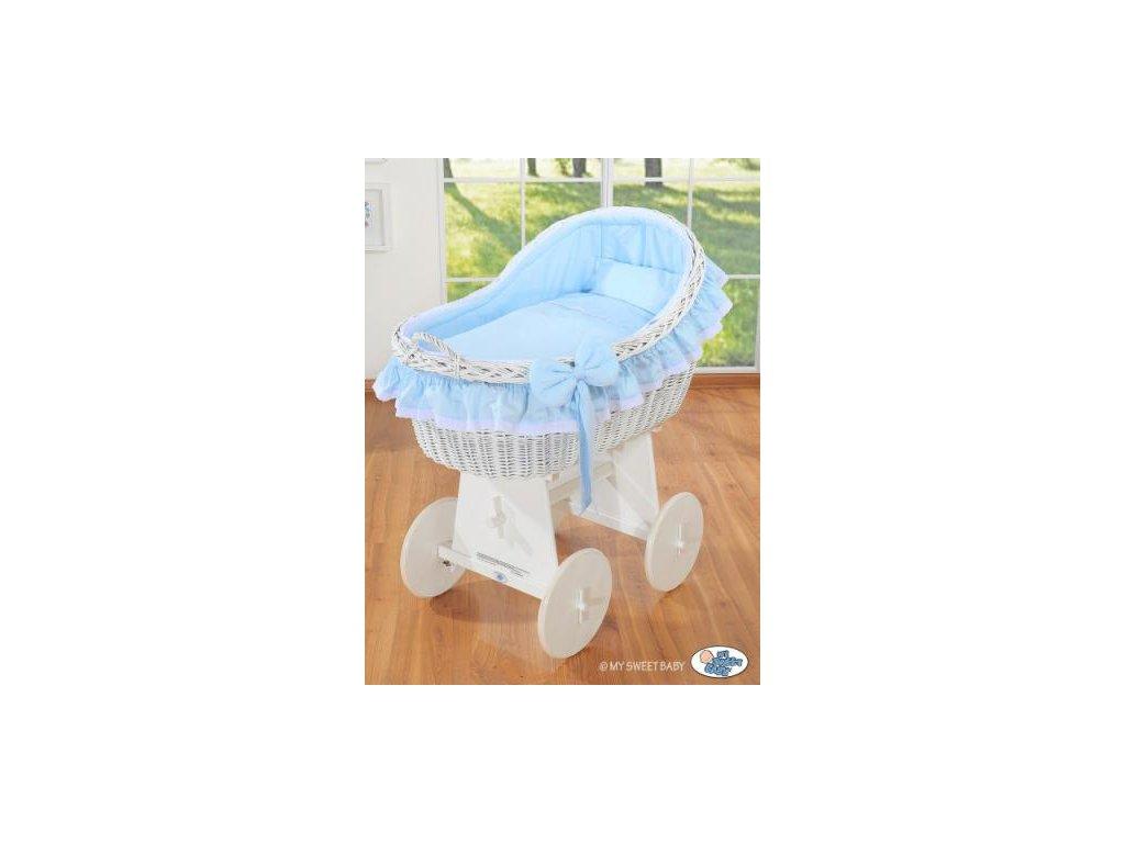 Proutěný koš na miminko bílý MY SWEET BABY kolekce Carina > varianta modrá 2021