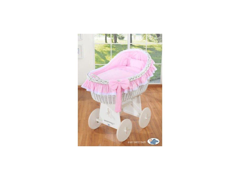 Proutěný koš na miminko bílý MY SWEET BABY kolekce Carina > varianta růžová 2019