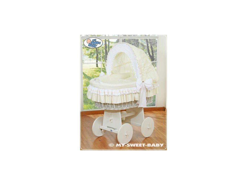 Proutěný koš BÍLÝ na miminko My Sweet Baby - DOMÁCÍ LUXUSNÍ KOČÁREK > varianta 78962-135 2021