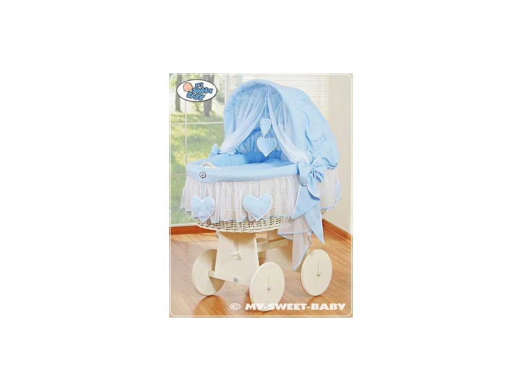 Proutěný koš BÍLÝ na miminko My Sweet Baby SRDÍČKA - DOMÁCÍ LUXUSNÍ KOČÁREK > varianta 78962-134 2019