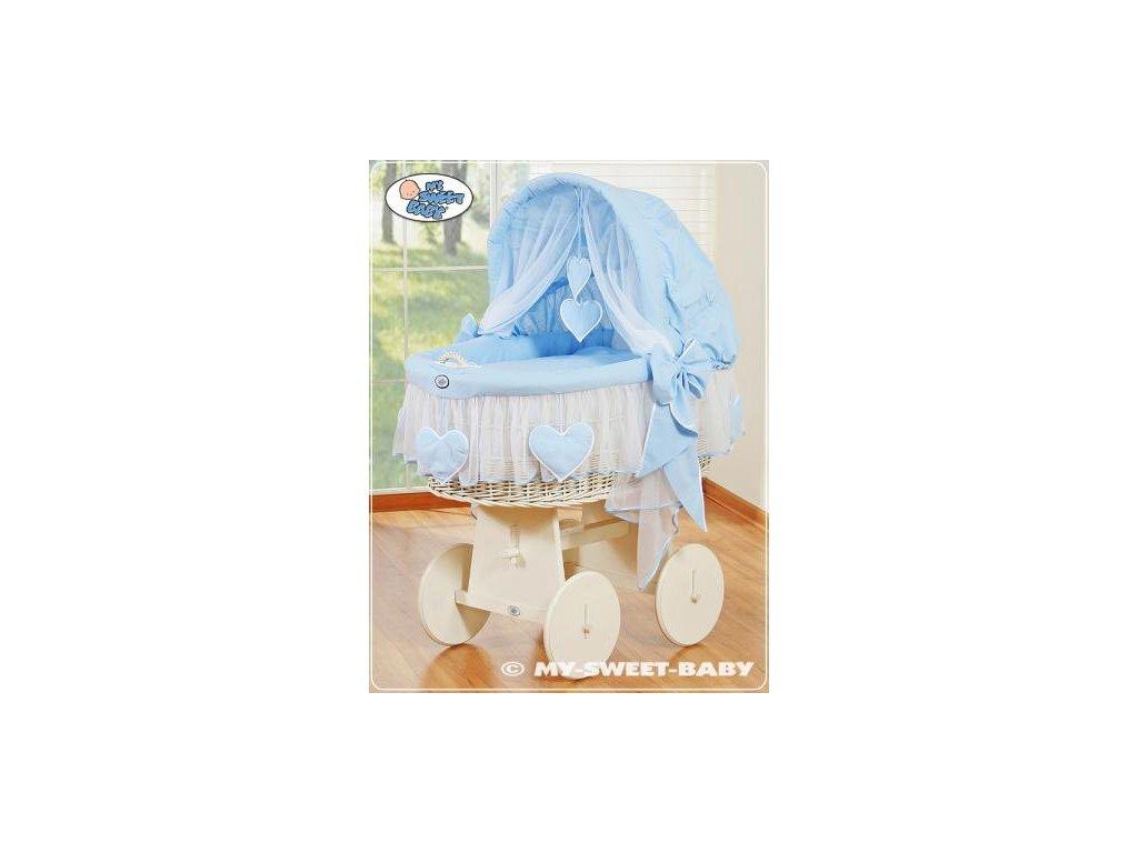 Proutěný koš BÍLÝ na miminko My Sweet Baby SRDÍČKA - DOMÁCÍ LUXUSNÍ KOČÁREK > varianta 78962-134 2022