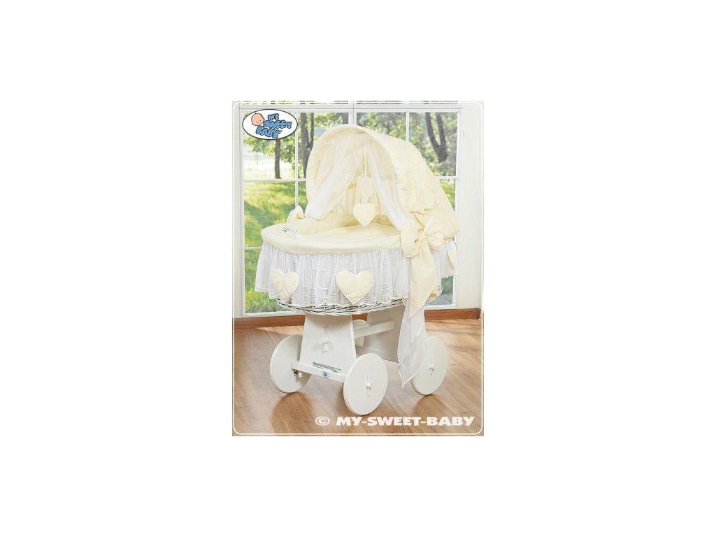 Proutěný koš BÍLÝ na miminko My Sweet Baby SRDÍČKA - DOMÁCÍ LUXUSNÍ KOČÁREK > varianta 78962-142 2022