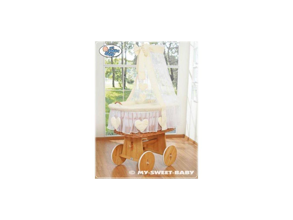 Proutěný koš na miminko My Sweet Baby SRDÍČKA - DOMÁCÍ LUXUSNÍ KOČÁREK > varianta 59582-142 2019