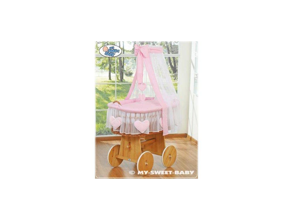 Proutěný koš na miminko My Sweet Baby SRDÍČKA - DOMÁCÍ LUXUSNÍ KOČÁREK > varianta 59582-122 2022