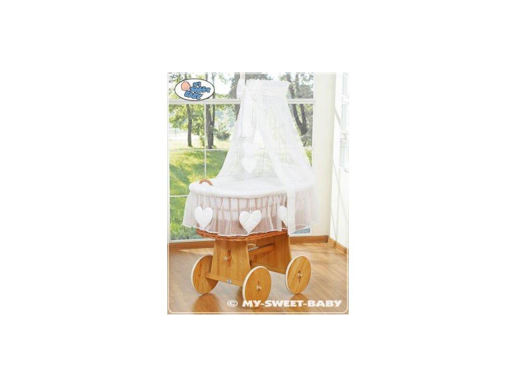 Proutěný koš na miminko My Sweet Baby SRDÍČKA - DOMÁCÍ LUXUSNÍ KOČÁREK > varianta 59582-123 2021