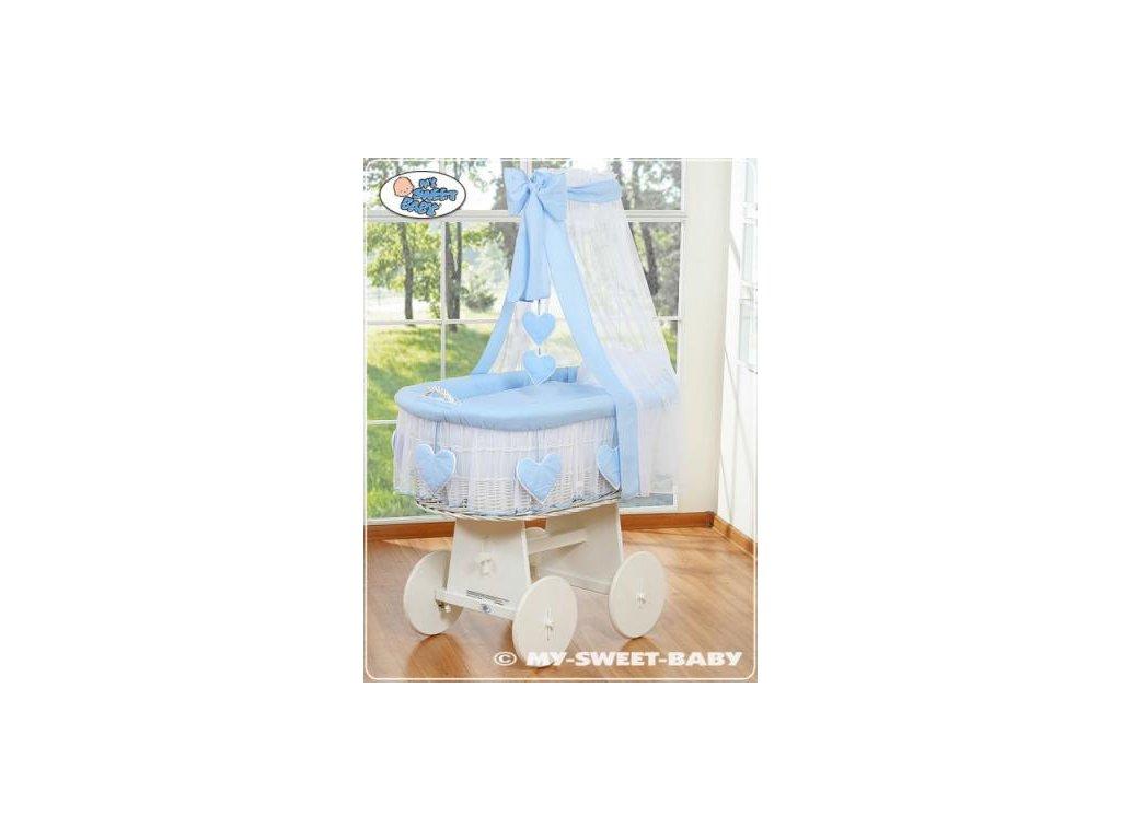 Proutěný koš BÍLY na miminko My Sweet Baby SRDÍČKA - DOMÁCÍ LUXUSNÍ KOČÁREK > varianta 79582-134 2021