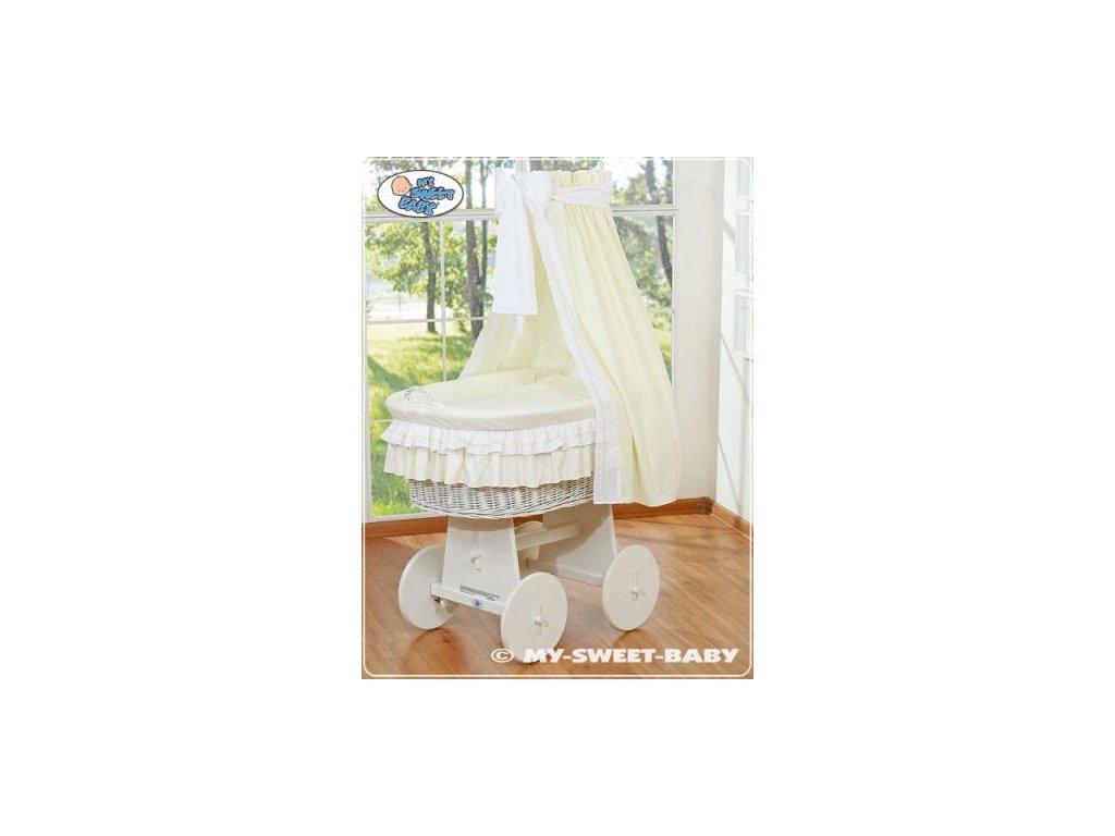 Proutěný koš BÍLY na miminko My Sweet Baby - DOMÁCÍ LUXUSNÍ KOČÁREK > varianta 79582-135 2019