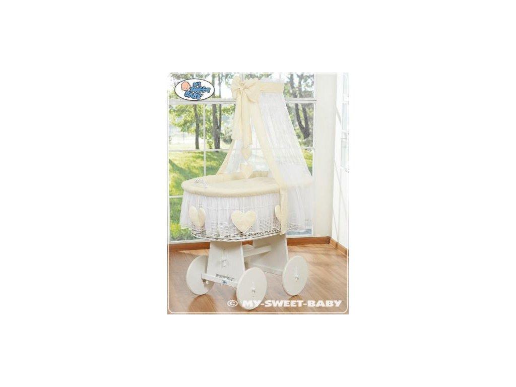 Proutěný koš BÍLY na miminko My Sweet Baby SRDÍČKA - DOMÁCÍ LUXUSNÍ KOČÁREK > varianta 79582-142 2022